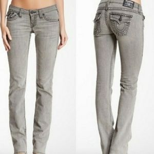 True Religion Gray Distressed Billy Jeans